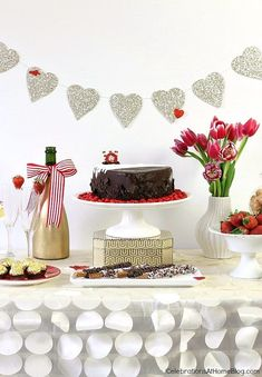 Red and white sweets table with 5 steps to creating a dessert table display from Celebrations at Home