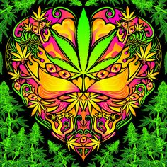 Cannabis Love Psychedelic Fluorescent Backdrop Tapestry is part of Cannabis Tapestry Etsy Tapestry technical details The print on light textile is made with fluorescent paint so it glows in the UV - Cannabis, Psychedelic Experience, Psychedelic Art, Abstract Styles, Abstract Art, Art Hippie, Trippy Tapestry, Stoner Art, Gothic Fantasy Art