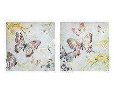 Set de 2 lienzos sobre madera DM Mariposas - 60x60 cm. 54€