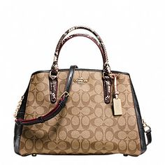 SMALL MARGOT CARRYALL IN SIGNATURE COATED CANVAS AND EXOTIC-EMBOSSED LEATHER