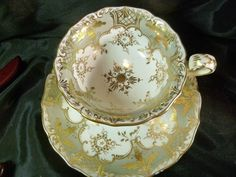 COALPORT TEA CUP AND SAUCER ADELAIDE SHAPE SOFT GREY GREEN GOLD c183O