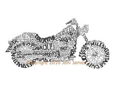 Motorcycle word art typography calligram by Joni James