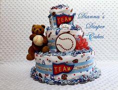 Baby Diaper Cake Baseball Shower Gift by Diannasdiapercakes