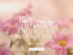 """""""Don't give up. Seek God with all your heart. Exercise faith. Walk in righteousness.""""—President Dieter F. Uchtdorf"""