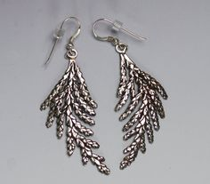 Silver Cedar Earrings Curved Sterling Silver by SilverCedarJewelry, $75.00