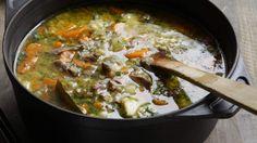 Lamb shank and barley soup with lots of vegies