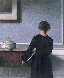 "Danish artist Vilhelm Hammershøi (1864-1916):  ""Interiør, ungkvinde set fra ryggen"" (1904). Belongs to Randers kunstmuseum, Denmark."