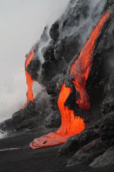 lava, volcano, and red image Volcan Eruption, Dame Nature, Lava Flow, Parc National, Natural Phenomena, Science And Nature, Natural Wonders, Natural World, Natural Things
