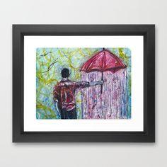 Risk More Framed Art Print by Mike Brennan - $35.00 #rain #umbrella #Man #Watercolor #Risk #Red #Green