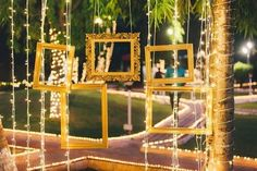 Use of frames and fairy lights for one of your wedding functions decor - simple yet so beautiful!