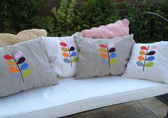 Orla Kiely inspired garden cushions