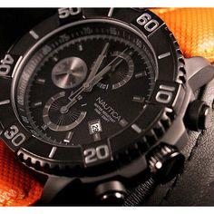 Nautica Men's Watch A21533G Black Anodized Round Chronograph Dial Orange Band