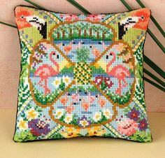 The Pink Flamingo Mini Cushion Cross Stitch by SheenaRogersDesigns