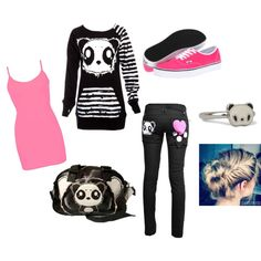 """""""Killer Panda With A Little Bit Of Pink"""" by kimmy-busch on Polyvore"""
