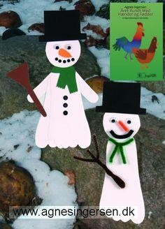 Snemændene er fra min bog Året Rundt Med Hænder Og Fødder. I bogen er snemændene lavet af karton både med 1 og 2 fødder.  I indlægget på bloggen er der vejledning og skabelon til snemændene og der er billeder af snemændene fra bogen. Husk at give mig noget credit når du bruger mine ideer. Her er så linket til snemændene: agnesingersen.dk/... Easy kids crafts - Kinderbastelideen