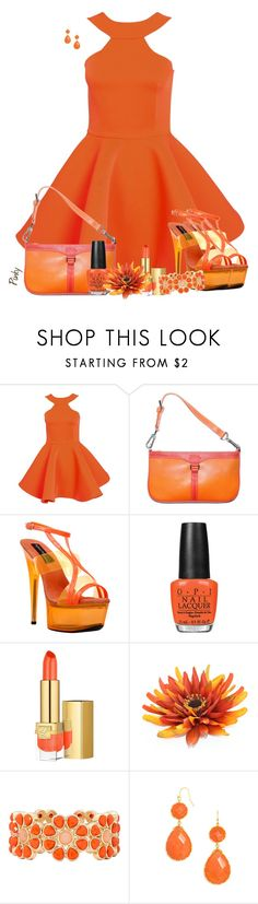 """""""Orange"""" by pinkystyle ❤ liked on Polyvore featuring AQ/AQ, Longchamp, The Highest Heel, OPI, Estée Lauder, Liz Claiborne and BaubleBar"""