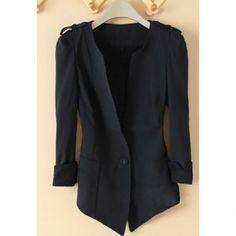 V-Neck Casual Single Button Lace Three-Quarter Sleeve Polyester Women's Blazer