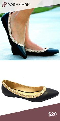 e8684cbb0 Black Studded Flats The perfect everyday shoes, these faux leather flats  feature a pointed toe. This pair is professional enough for the office, ...
