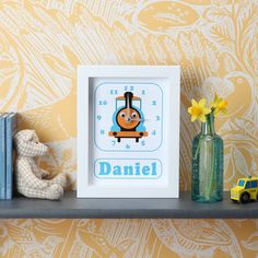 Personalised Boat, Train, Tractor Clocks by StripeyCats, the perfect gift for Explore more unique gifts in our curated marketplace. Personalized Clocks, Animal Birthday, Box Frames, Gifts For Boys, Special Gifts, Playroom, Transportation, Birthday Cards, Unique Gifts