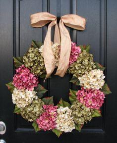 "Spring Hydrangea Wreaths, 22"" Hydrangea Wreath Champagne Bow, Green and Cream Hydrangea Wreath, Spring Decorations, Pink Hydrangeas"