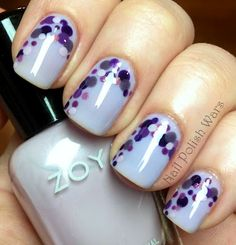 Purple Zoya Nail Art from Nail Polish Wars featuring Zoya Miley, Pinta, Lotus, Mira, Zara, Marley, Danni, Tru and Savita