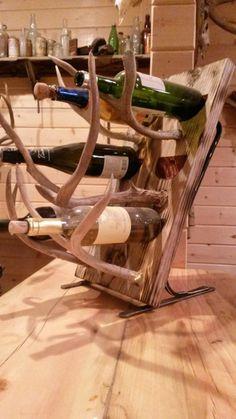 DIY wine racks in wood and antler