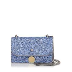 JIMMY CHOO FINLEY Cobalt Shadow Coarse Glitter Fabric Cross Body Mini Bag. #jimmychoo #bags #shoulder bags #glitter #charm #accessories #cardholder #