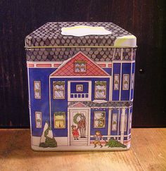 Charming Blue House Shaped Tin Box Christmas Tin Box Company | eBay