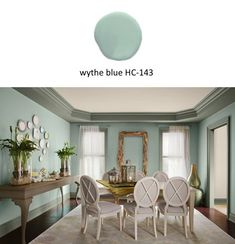 Benjamin Moore 2012 color of the year, wythe blue. I used this color from their historical collection in 2007. Wanted to use in more rooms.