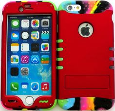 """Amazon.com: Red, Black and Rainbow """"Plain Colorful Simple with Non-Slip Grip Texture"""" 3 Piece Layered ULTRA Tuff Custom Armored Hybrid Case for the NEW iPhone 6 Plus 5.5"""" Inch Smartphone by Apple {Made of Soft Silicone Gel and Hard Rubberized Plastic with External Built in Kickstand} """"All Ports Accessible"""": Cell Phones & Accessories"""