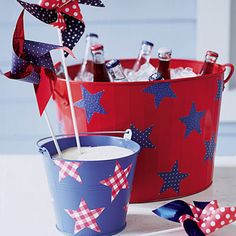 Paint a colorful 4th of July drinks cooler