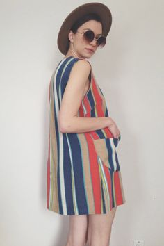 Early 70s Mini Denim Dress w/ Beige, Orange, and Mustard Yellow Stripes