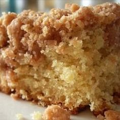 This is a great coffee cake, and I'm not even a huge coffee cake fan. But talk about moist! Yum!