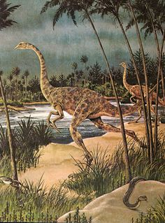 Vinitage Dinosaur Art: Struthiomimus by Rod Ruth