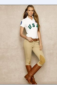 Ralph Lauren White USA Big Pony Women Polo