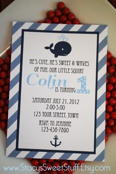 Whale Invitation includes FREE Thank You Card, DIY Printable. $15.00, via Etsy.