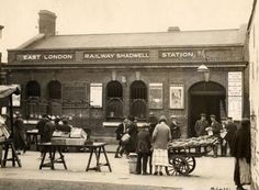 Shadwell station, London, E1. 1925 Vintage London, Old London, East London, Transport Museum, London Transport, Tube Train, Irish Catholic, Tower Hamlets, London History