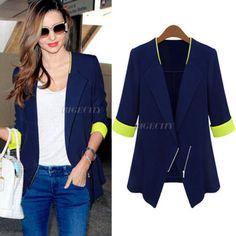 Fahion Womens Slim 3/4 Sleeve Zip Suit Coat Blazer Jacket Outerwear[Navy blue,M 8]