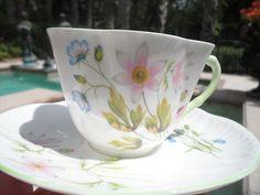 Shelley Dainty Wild Anemone 13977 Cup Saucer Light Green Handle | eBay
