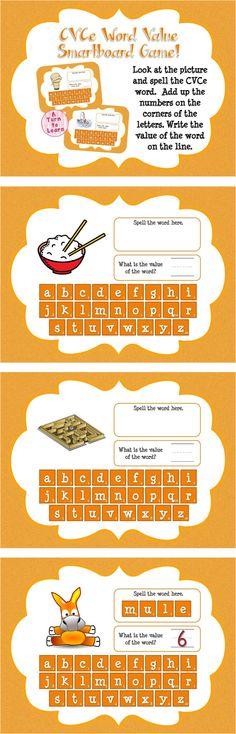 Super E / CVCe Word Value Game for Smartboard or Promethean Board