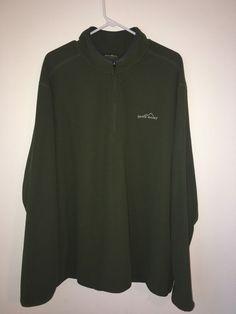 Mens EDDIE BAUER Green Waffle Knit Henley Long Sleeve Pullover Shirt Tall XL XLT #EddieBauer #Henley