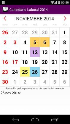 Aplicación para dispositivos Android   calendario laboral colombiano 2014 - 2015