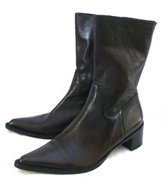 "ETIENNE AIGNER Side Zipper Brown Leather Boots ""LYLE"" Sz 8M Made In Brazil #EtienneAigner #MidCalfBoots #Casual"