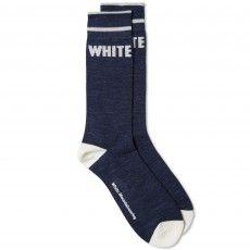 White Mountaineering White Logo Middle Sock (Navy)