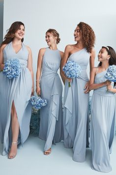Dusty wedding color palettes are our favorite and our new dusty blue bridesmaid color is the perfect addition to our bridesmaid color palette! The muted pastel blue is a pretty option for all your girls! Shop this bridesmaid color at David's Bridal! Aqua Blue Bridesmaid Dresses, Bridesmaid Dresses With Sleeves, Davids Bridal Bridesmaid Dresses, Bridesmaid Dresses Online, Blue Bridesmaids, Bridesmaid Color, Dusty Blue Dress, Bridemaid Dresses Long, Pastel Color Dress