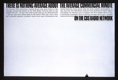 CBS Radio Network newspaper ad by Herb #Lubalin.  @uniteditions  via @wayneford