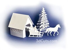 Covered Bridge TeaLightVillage by 2 wm. Led Tea Lights, Fairy Lights, Covered Bridges, 3d Projects, Christmas Home, Svg Cuts, Silhouette, Noel, Homes