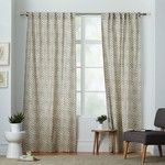 "West Elm Cotton Canvas Stamped Dots Curtain, Set of 2, Platinum, 48""x84"""
