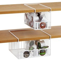 Great idea for people who have shelves that are not custom.   K-Cup® Undershelf Baskets