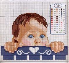 Schema punto croce bambino che dorme hobby lavori for Idee punto croce bimbi